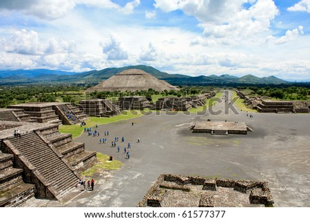 View of Pyramids in Teotihuacan in Mexico - stock photo