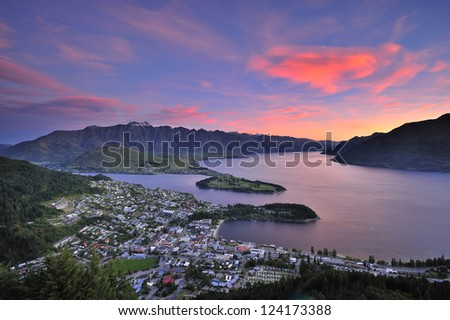 View of Queenstown, New Zealand at dusk from Skyline. - stock photo