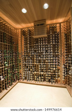 View of racks with wine bottles at domestic wine cellar - stock photo