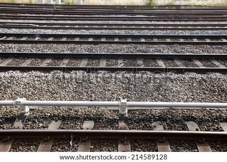 View of railway tracks - stock photo