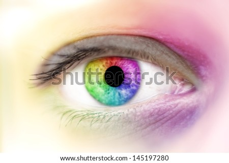 View of rainbow colours in a woman eye, make up concept - stock photo