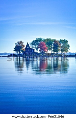 View of Ramsey Lake in autumn. Ramsey lake is one of tourist attraction in Sud-bury, Ontario, Canada