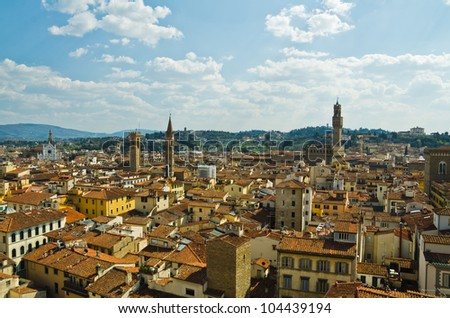 view of red roofs in Florence. Italy