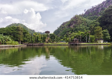 View of reflection of Gunung Lang lake, Ipoh