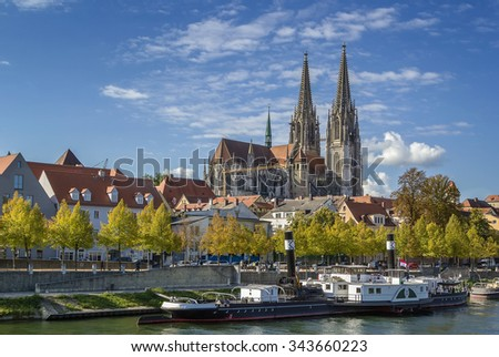 view of Regensburg Cathedral from Danube, Germany