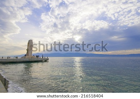 View of Reggio Calabria, Sicily and the Strait  - stock photo