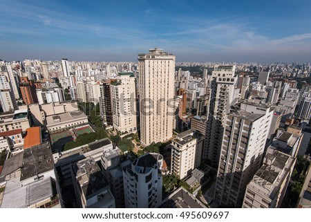 View of Residencial Buildings in Sao Paulo City