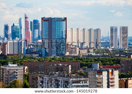 view of residential and business areas in Moscow city in summer afternoon