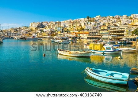 view of residential marina in the port of piraeus in greece