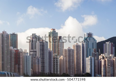 View of residential skyscrapers on the densely built Hong Kong Island in Hong Kong, China. Copy space.