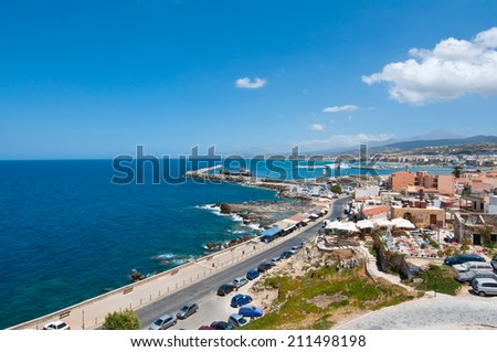View of Rethymno from Fortezza on Crete, Greece. - stock photo