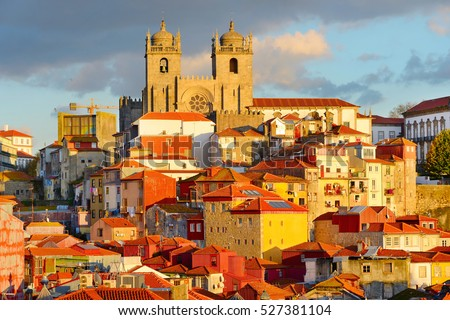 View of Ribeira - the Old Town of Porto at sunset. Portugal