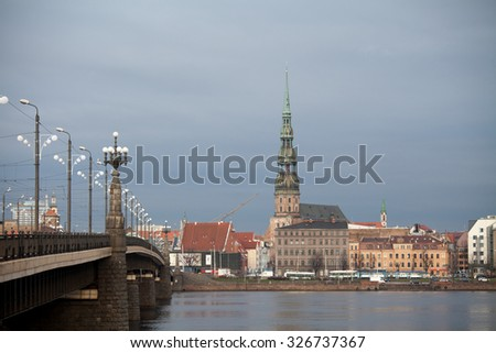 View of Riga  across Daugava river