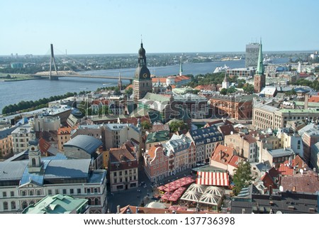 View of Riga from above  on a sunny day