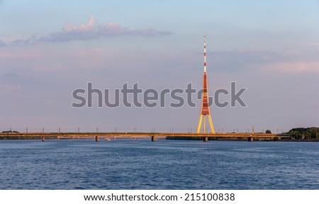 View of Riga TV tower - Latvia - stock photo