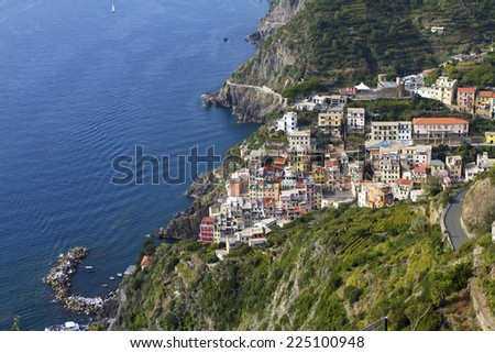 View of Rio maggiore, at the Cinque Terre in Italy - stock photo