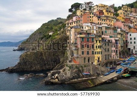 View of Riomaggiore, one of the Cinque Terre villages in Italy
