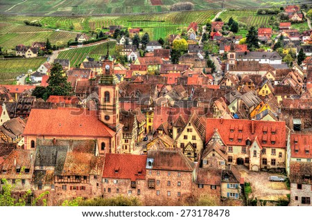 View of Riquewihr village in Alsace, France - stock photo