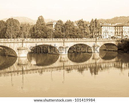 View of River Po in Turin, Italy - stock photo
