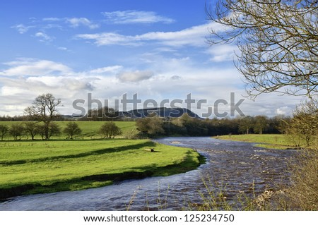 View of River Ribble, near Clitheroe. - stock photo