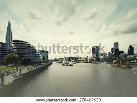 View of River Thames and london city from Tower Bridge - stock photo