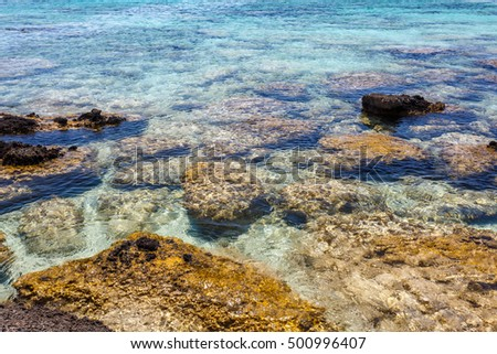 View of rocks of the shore at Elafonisi beach. Crete. Greece.