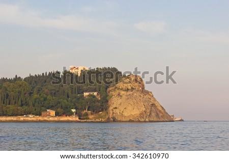 View of rocky cape Plaka, Crimea coastline - stock photo