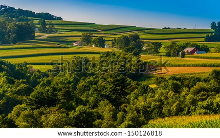 View of rolling hills and farms in Southern York County, Pennsylvania.