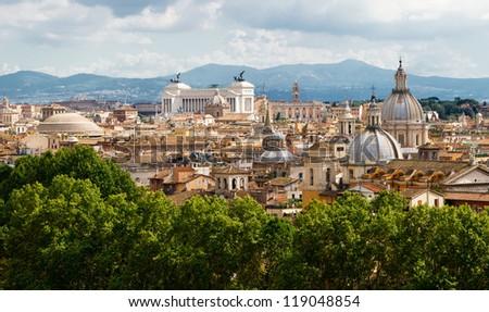 View of Rome cityscape - stock photo