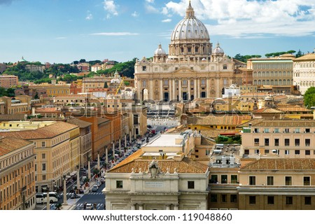 View of Rome cityscape, Basilica of St. Peter, Italy - stock photo