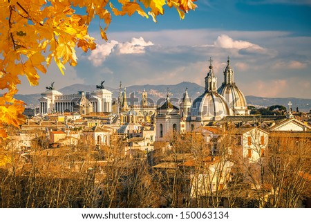 View of Rome from Castel Sant'Angelo - stock photo