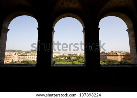 View of Rome from Castel Sant'Angelo, three windows - stock photo
