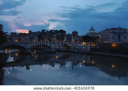 view of rome: tiber river, st.peter's basilica and some other stuff