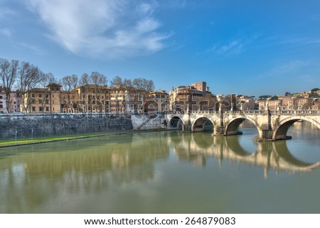 View of Rome with the bridge over the Tiber river