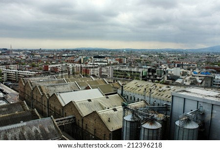View of rooftops across the city of Dublin Ireland  - stock photo