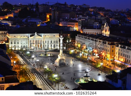 View of Rossio Square at night and Maria II Theatre, seen from Santa Just elevador. Lisbon, Portugal - stock photo