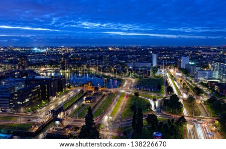 View of Rotterdam in the night from height - stock photo