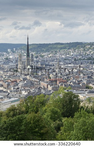 view of rouen city center in france