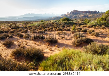 View of Rough Terrain at Arches National Park - stock photo