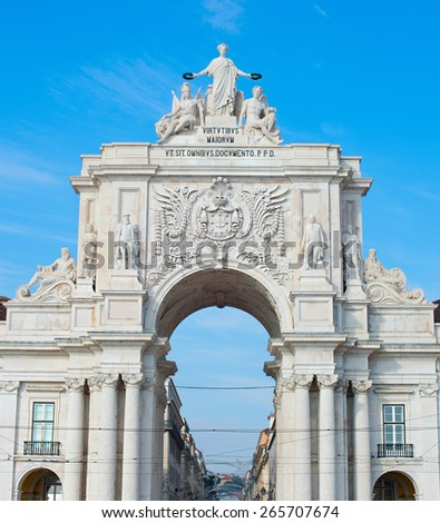 View of Rua Augusta Arch at sunset in Lisbon, Portugal - stock photo