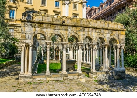 view of ruin of a 12th century cloister standing between Porta Soprana and Christopher Columbus' house in Genoa, italy.