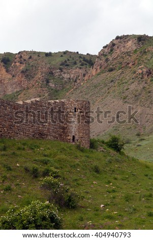 View of ruined Tapi fortress of Gevorg Marzpetuni surrounded by green mountains