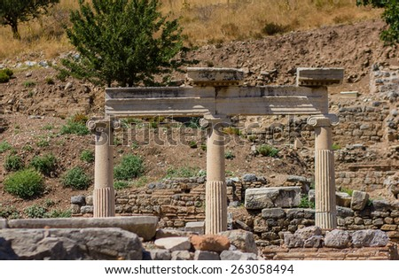 View of ruins of Ancient Ephesus in Turkey - stock photo