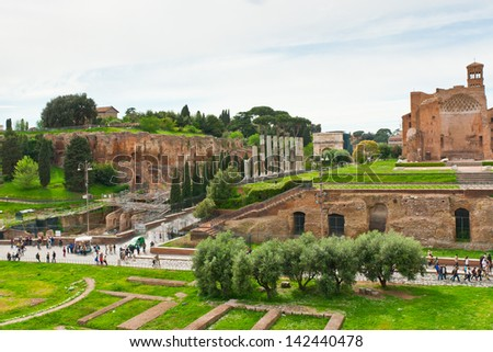 View of ruins of Roman Forum. Rome, Italy - stock photo