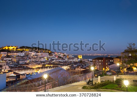 View of S. Jorge Castle at dawn in Lisbon, Portugal.