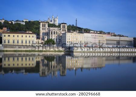 View of Sa�´ne river, Lyon, France. - stock photo