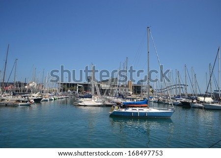 View of sailboats in the port of Barcelona, Catalonia, Spain.