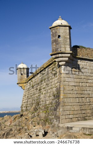 View of Saint Francisco Xavier Fort in Porto, Portugal, also know as Cheese Castle. Cheese Castle - stock photo