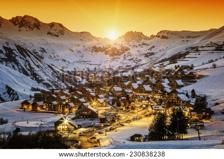 View of Saint Jean d'Arves at sunset, France - stock photo