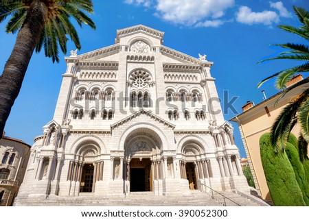 View of Saint Nicholas Cathedral in Monaco, Monte Carlo - stock photo